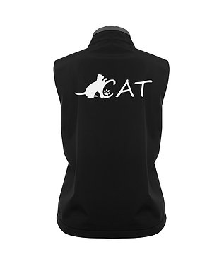 Ladies soft shell vest black with charcoal trim cat back view image
