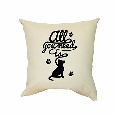 """Tan dog themed cushion cover with black dog image and quote """"all you need is"""" front view"""