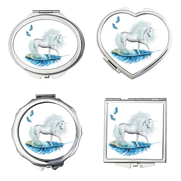 Set of four compact mirrors round, heart, square, oval shapes unicorn on blue feather image front view