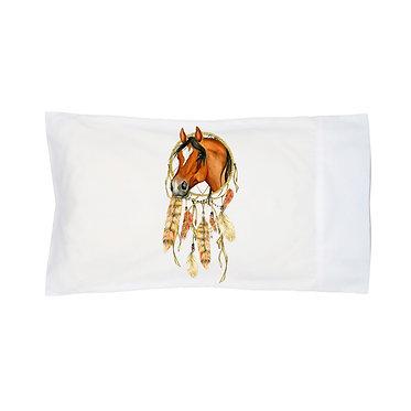 Pillowcase white dream catcher horse image front left view