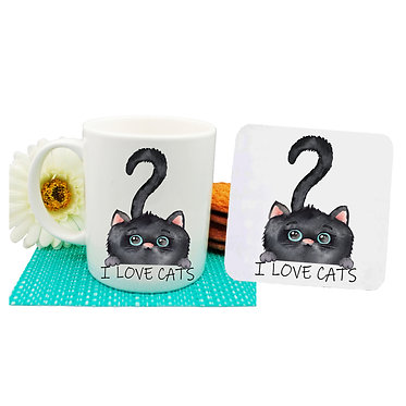 "Ceramic coffee mug and drink coaster set black cat with quote ""I love cats"" image front view"