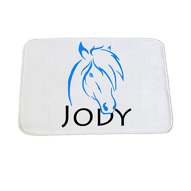 Personalised non-slip bath mat horse light blue image front view