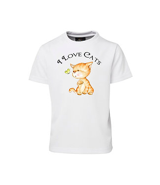 Kids cotton t-shirt I love cats image front view