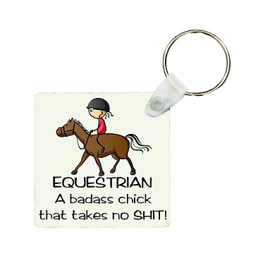 Square MDF wood key-ring equestrian badass chick that takes no shit! horse image front view