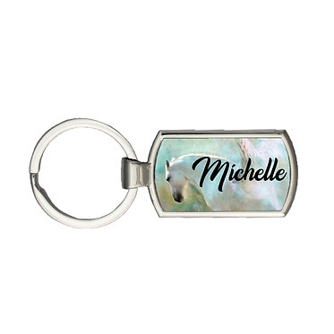 Rectangle metal key-ring angelic horse image front view
