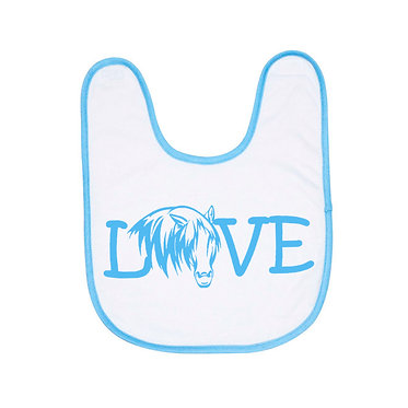 Babies bib white with soft blue trim horse love image front view