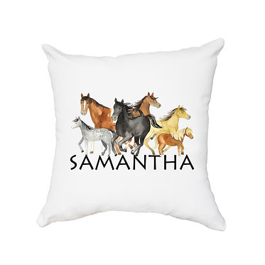 Personalised white cushion with zip group of horses image front view
