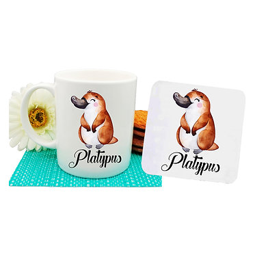 Ceramic coffee mug and drink coaster set Australian cute Platypus image front view