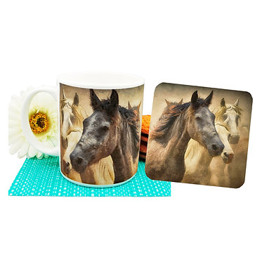 Wild horses ceramic coffee mug and coaster set front view