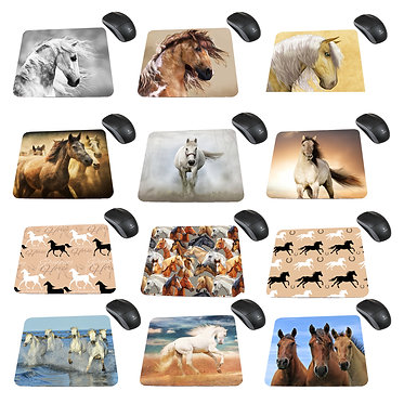 Neoprene computer mouse pad with 12 horse images to choose from front view