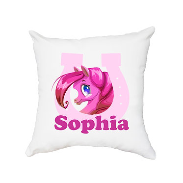 White personalised cushion cute pony in horseshoe hot pink image front view
