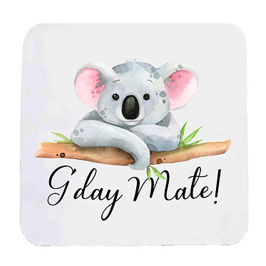 "Neoprene drink coaster Australian Koala and quote ""G'day Mate"" image front view"