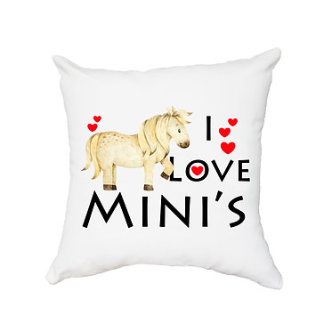 White cushion cover with zip dream I love mini's pony horse image front view