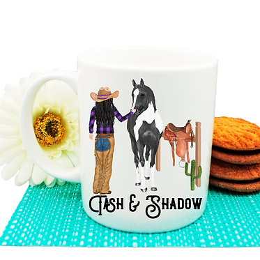 Personalised ceramic coffee mug black haired cowgirl and horse image front view