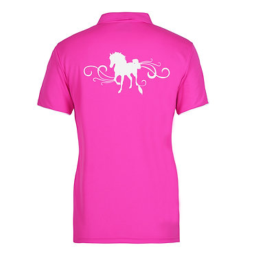 Ladies horse cool polo shirt hot pink white horse with scrolls image back view