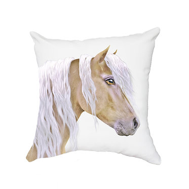 Tan cushion cover with zip beautiful palomino horse image front view