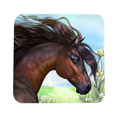 Beautiful horse square neoprene drink coaster front view