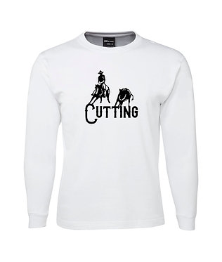 Mens long sleeve t-shirt cutting horse white with black image front view