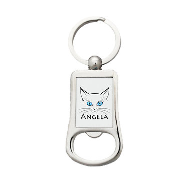 Personalized bottle opener keyring with cat face and name image front view