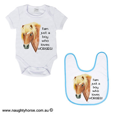 Boys baby romper suit and matching bib gift set in white with blue trim on bib horse and quote image front view