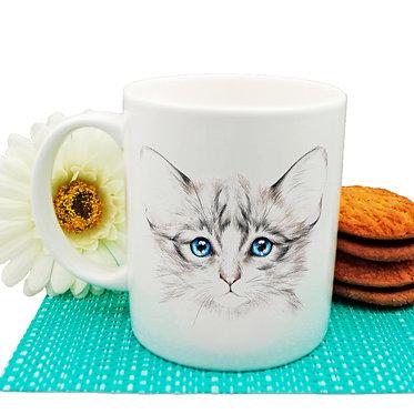 Ceramic coffee mug kitten with blue eyes image front view