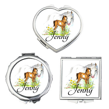 Set of three compact mirrors personalised mare and foal horse image front view