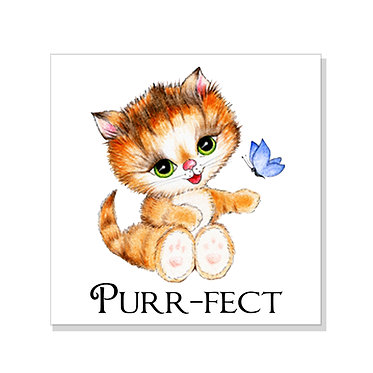 Square art print with a cute kitty purr-fect image on acid free card stock front view