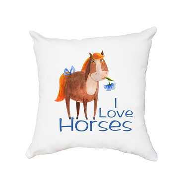 White cushion cover with zip cute I love horses image front view