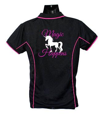 Black/pink unicorn polo shirt back view