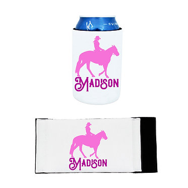 Personalised neoprene stubby cooler western horse rider hot pink image front and flat view