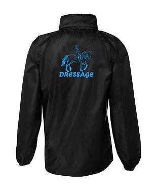 Black with blue horse image dressage rain sheet jacket back view