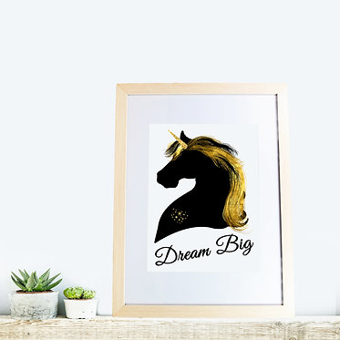 Wood picture frame rectangle black and gold unicorn image dream big front view