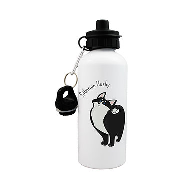 Dog themed sports water bottle with Siberian Husky dog image on front view lid on