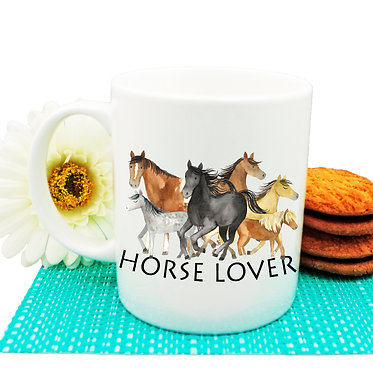 """Ceramic coffee mug with horse and quote """"Horse lover"""" image front view"""