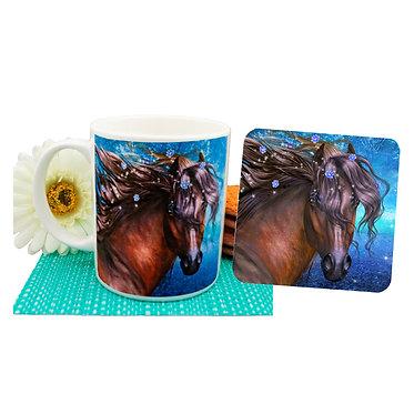 Fantasy horse ceramic coffee mug and coaster set front view
