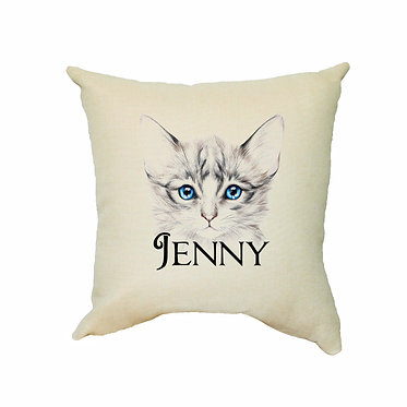 Personalized tan cushion cover with zip 40cm x 40cm with name and blue eyed kitten image front view