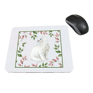 Neoprene computer mouse pad white cat with leaves image front view