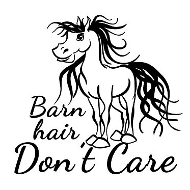 Horse vinyl decal sticker for horse float barn hair don't care horse in black front view