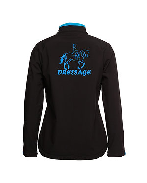 Black with aqua accents and dressage horse image softshell jacket back view