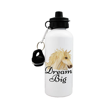"""Sports water bottle with horse and quote """"dream big"""" image front view lid on"""