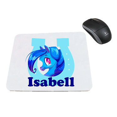 Neoprene computer mouse pad personalised cute pony in horseshoe blue image front view