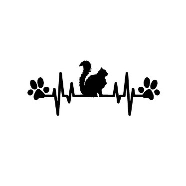 Cat vinyl decal sticker fluffy cat heart beat with paws front view