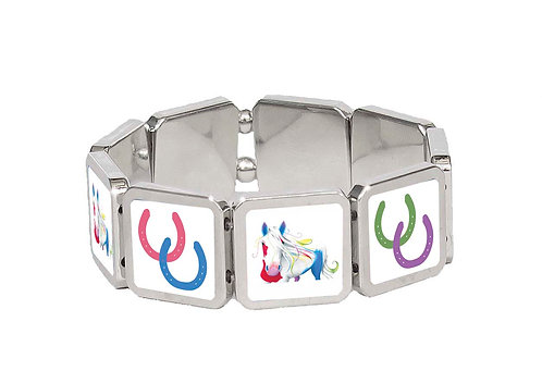 Spirit horse panel bracelet front view