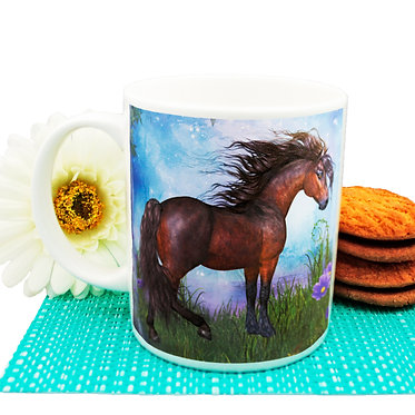 Ceramic coffee mug horse in forest image front view