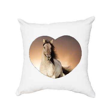 White cushion cover with zip dream buckskin horse cantering image front view