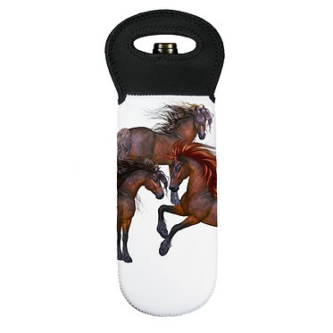 Wine cooler carry bag neoprene three beautiful horses image front view