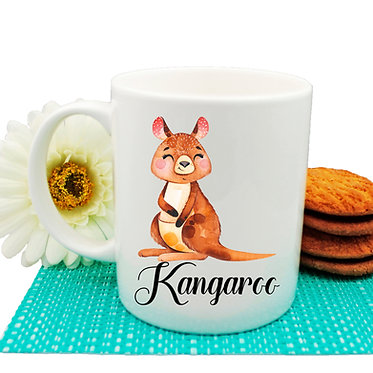 Ceramic coffee mug Australian Kangaroo image front view