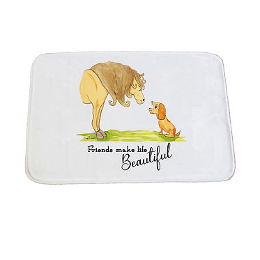"Non-slip bath mat white horse and dog with quote ""friends make life beautiful"" image front view"