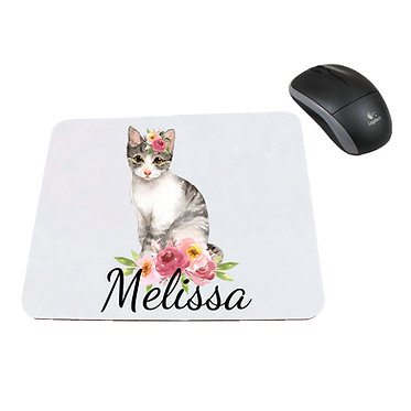 Personalized computer mouse pad with cat with flowers image front view