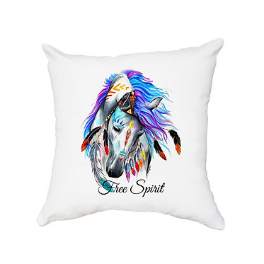 White cushion cover with zip spirit horse image front view